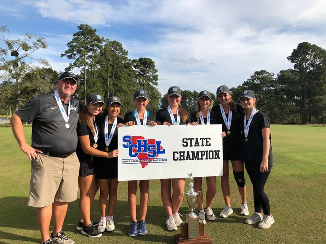 Daniel's girls golf team won the Class AAAA state championship Tuesday at The Hackler Course in Conway. From left are coach Andy Swords, Emileigh Swords, Jennifer Gao, Peyton O'Brien, Courtney Collins, Adrienne O'Brien, Gillian O'Brien and Sarah Whitfield. PROVIDEDls golf team won the Class AAAA state championship Tuesday at The Hackler Course in Conway. From left are coach Andy Swords, Emileigh Swords, Jennifer Gao, Peyton O'Brien, Courtney Collins, Adrienne O'Brien, Gillian O'Brien and Sarah Whitfield.