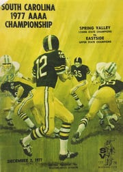 A program from the 1977 Class AAAA championship game touts the matchup between Spring Valley and Eastside.