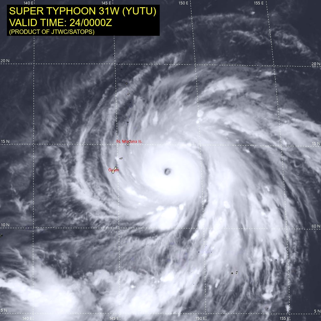The latest: Yutu is now supertyphoon, worst expected early Thursday