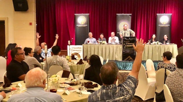 Senatorial candidates raise hands when asked whether they support legalizing recreational cannabis, during Wednesday's forum hosted by the Guam Chamber of Commerce.