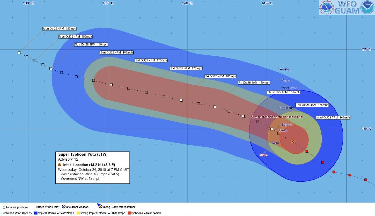 The National Weather Service uploaded this tracking graphic as of 7 p.m. Oct. 24 of Super Typhoon Yutu.