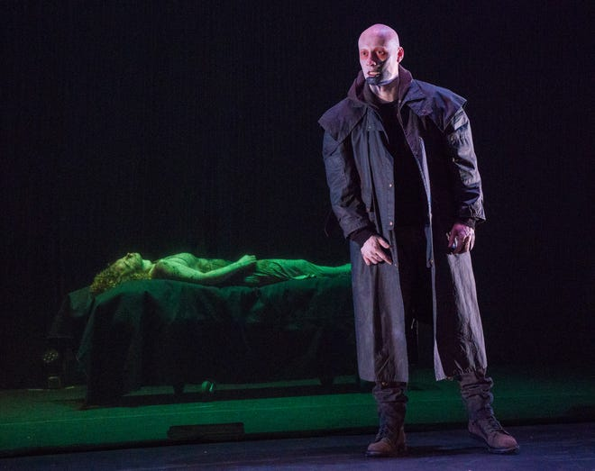 "Actor Robert Madeley appears as the monster in a scene from Aquila Theatre's adaption of Mary Shelley's ""Frankenstein."" The play will be presented at the Preston Arts Center here this Tuesday, Oct. 30, as the second show in the Henderson Area Arts Alliance's 2018-19 season. (Photo by Richard Termine)"