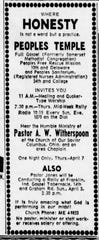 "All about ""HONESTY"" - An early advertisement for the Peoples' Temple, April 2, 1960, Indianapolis Star."