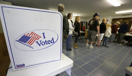Voters in Franklin Township wait to cast their ballots during the Indiana primary in 2016.