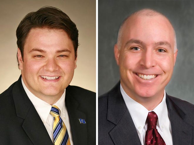 Democrat J.D. Ford, left, is challenging incumbent Republican Mike Delph for the 29th district in the Indiana State Senate.