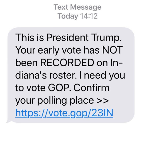 This unsolicited text message was sent to a voter who complained about it to the Marion County Democratic Party.