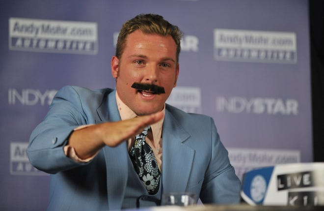 Indianapolis Colts punter Pat McAfee, wearing a fake mustache, talks to guest Colts receiver T.Y. Hilton at the IndyStar Pat McAfee Show, at Kilroy's in Broad Ripple Tuesday October 8, 2013.