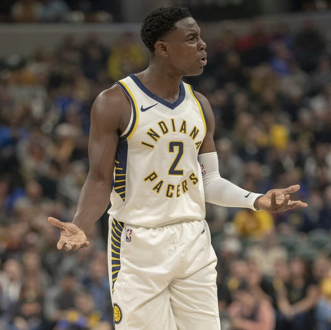 Darren Collison of the Indiana Pacers complains to a referee about a call that didn't go his way during action against the Brooklyn Nets, Bankers Life Fieldhouse, Oct. 20, 2018.