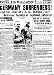 Nov. 11, 1918 Indianapolis star announces the end of World War I.