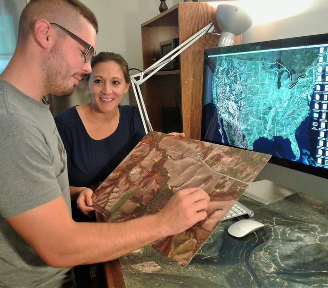 Ben Harshyne and his wife Kate ride herd on a growing high-tech mapping business after relocating to Iowa City from Washington DC three years ago.  Their custom maps are sold nationwide.