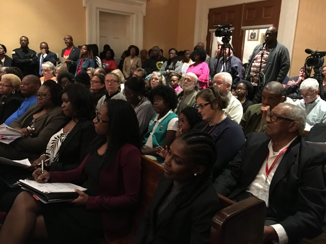 It was standing room only at the Jackson City Council's Oct. 23, 2018, meeting, as council members addressed the Forest Hill High School band performance controversy. The council unanimously approved three resolutions showing support for the students, who were recently banned from on-field performances, and the school's band director, Demetri Jones, who was fired.