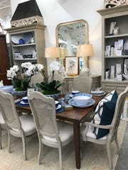 A vignette arranged like a dining area provides inspiration for shopper at Interior Spaces in Madison.