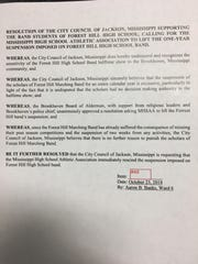 Jackson Councilman Aaron Banks drafted a resolution to lift a Mississippi High School Activities Association ban on the Forest Hill High School band following a controversial Oct. 5 halftime performance. The City Council unanimously approved the resolution at its Oct. 23, 2018 meeting.