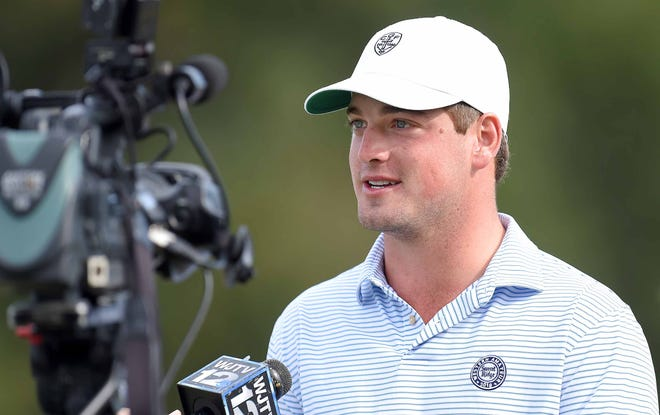 Jackson Academy alum Wilson Furr speaks to local media before hitting the driving range on Wednesday, October 24, 2018, at the Sanderson Farms Championship at the Country Club of Jackson in Jackson, Miss.