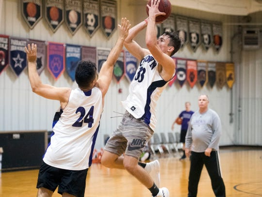 Crown College's Jonathan Torres defends Griffith Rutherford during practice on Tuesday, October 23, 2018. ÒAbout half our team is enrolled in the trades classes,Ó  said coach Clayton Sullivan. ÒThe bad news is those classes only last two years, so you donÕt have those guys around too long.Ó