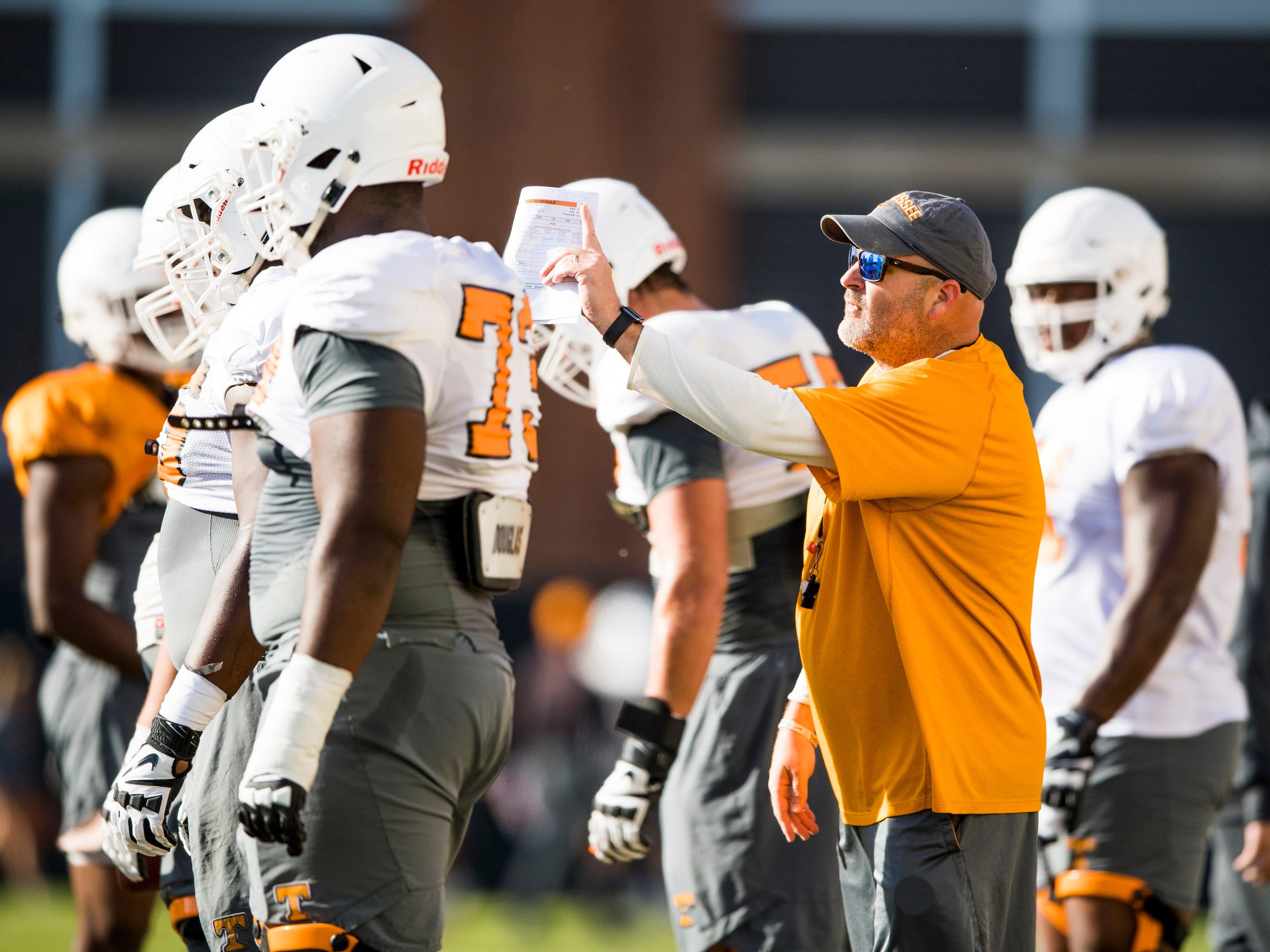 Tennessee offensive line coach Will Friend during Tennessee's afternoon football practice on campus on Wednesday, October 24, 2018.