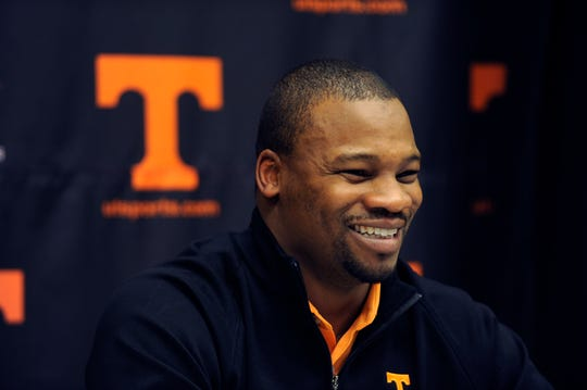 Jay Graham is introduced as Tennessee's running backs coach Jan. 13, 2012. The Concord, N.C., native was a Tennessee running back 1993-96. (AMY SMOTHERMAN BURGESS/NEWS SENTINEL)