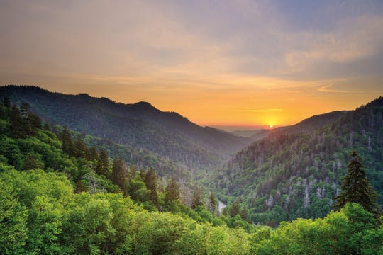 Sunset at the Newfound Gap in the Great Smoky Mountains near Gatlinburg, Tennessee, USA. Reproduced with permission from Lonely Planet's Best in Travel 2019 © 2018