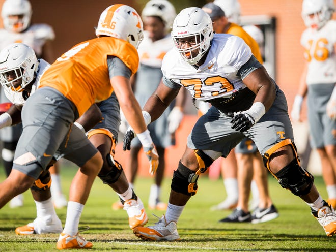 Tennessee offensive lineman Trey Smith (73) during Tennessee's afternoon football practice on campus on Wednesday, October 24, 2018.