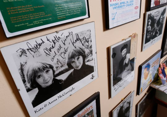 Autographed promotional photos from musicians featured in Friends of Bob concerts, including Kate and Anna McGarrigle, Wednesday, October 24, 2018, in their Battle Ground home of Richard Fudge and Meredith Richmond. The popular Friends of Bob performances will come to an end after 25 years and 187 memorable shows.