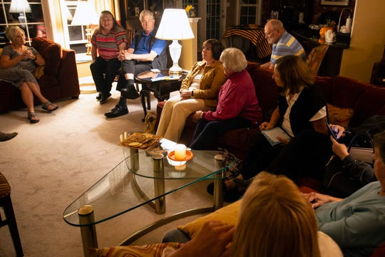 A group of concerned Catholics meet in a private residence to discuss the actions of the Archdiocese in regard to sexual abuse allegations amongst its clergy. 10/11/18