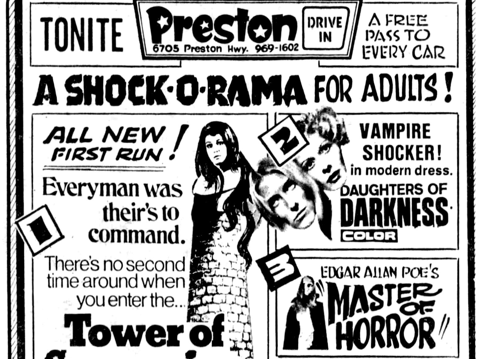 """""""Daughters of Darkness,"""" """"Tower of Screaming Virgins,"""" """"Master of Horror,"""" and """"Dinosaurus,"""" Wednesday, Feb. 23, 1972"""