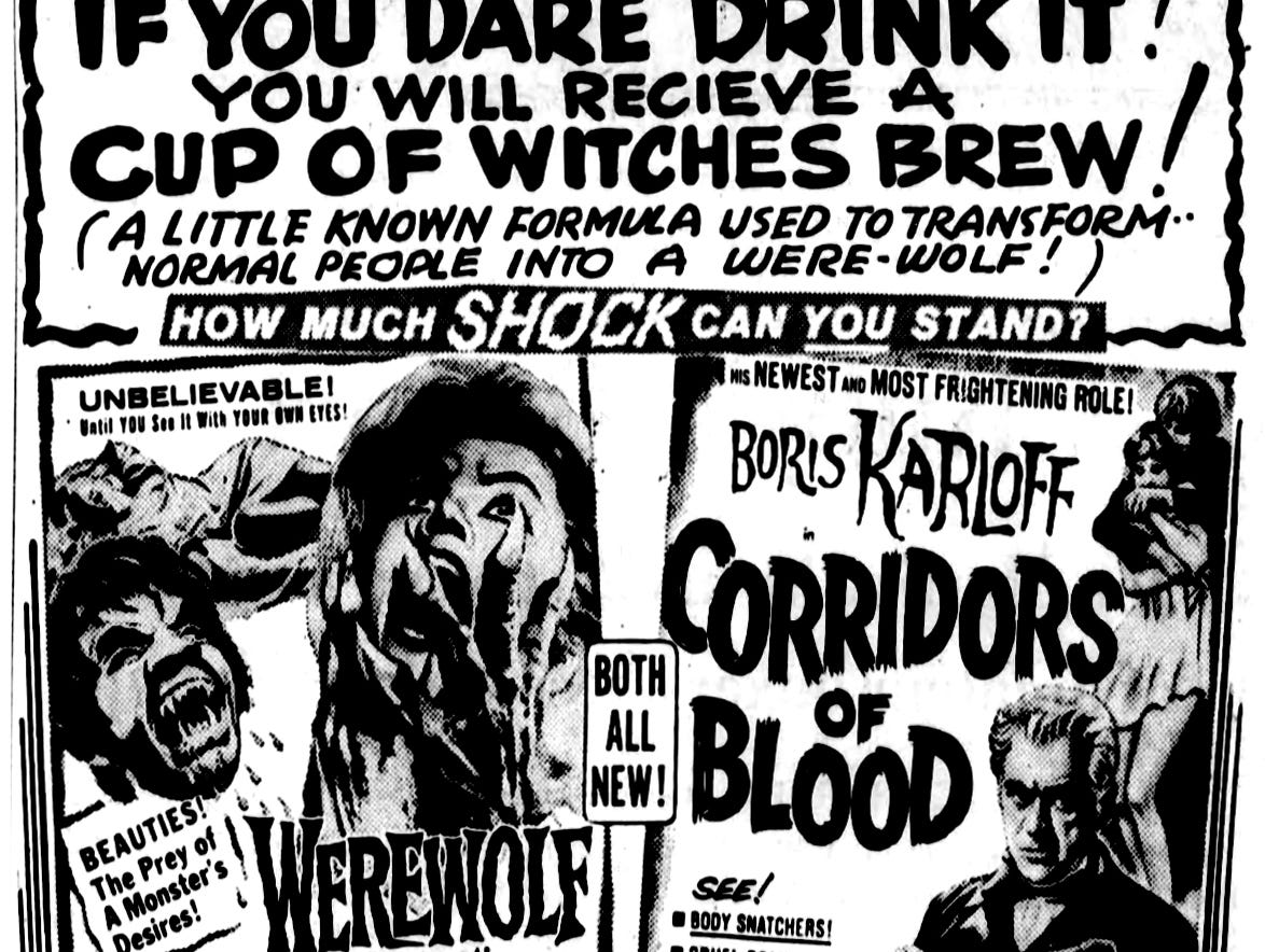 """""""Corridors of Blood,"""" and """"Werewolf in a Girls' Dormitory,"""" Friday, July 5, 1963"""