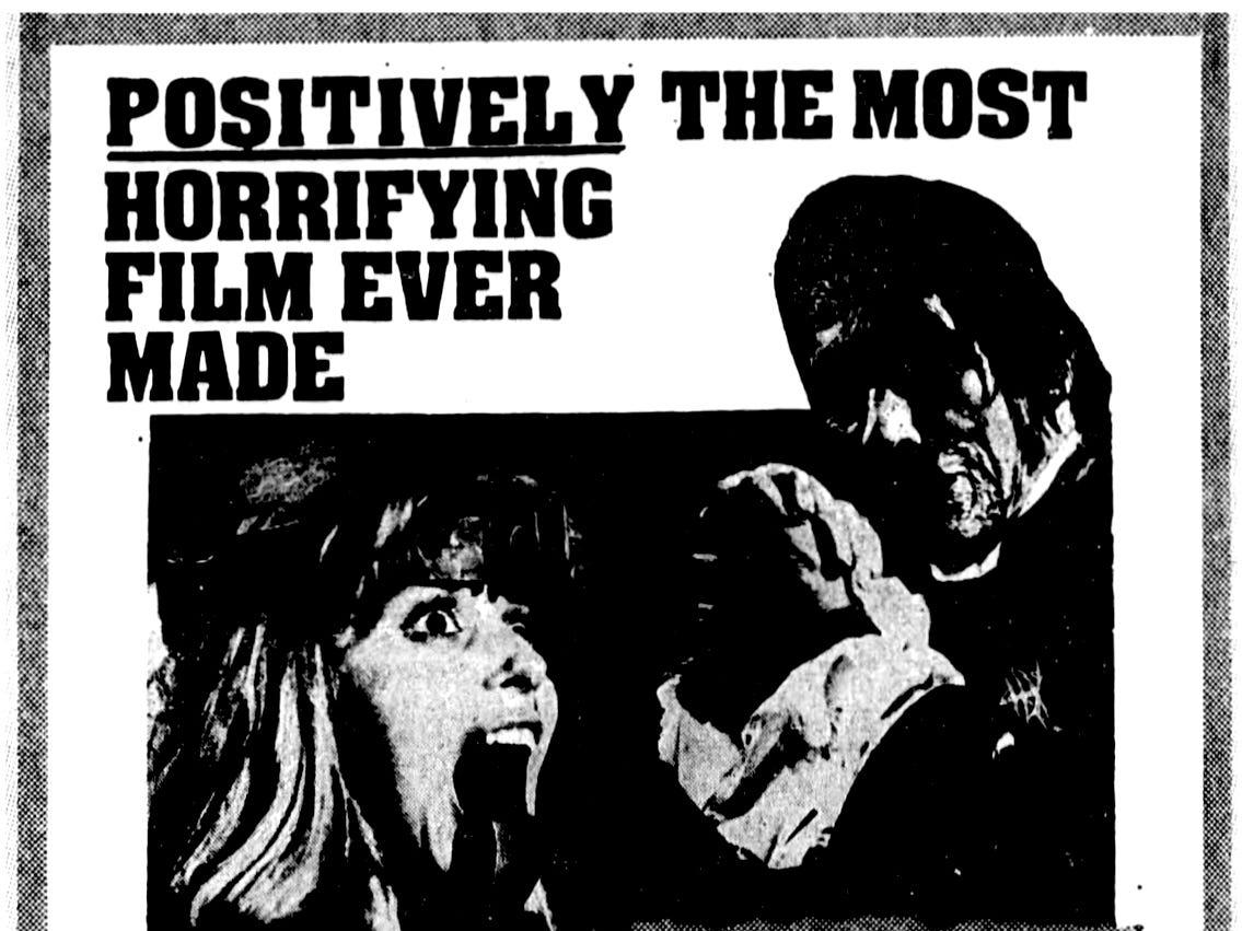 """""""Mark of the Devil,"""" Thursday, Apr. 20, 1972"""