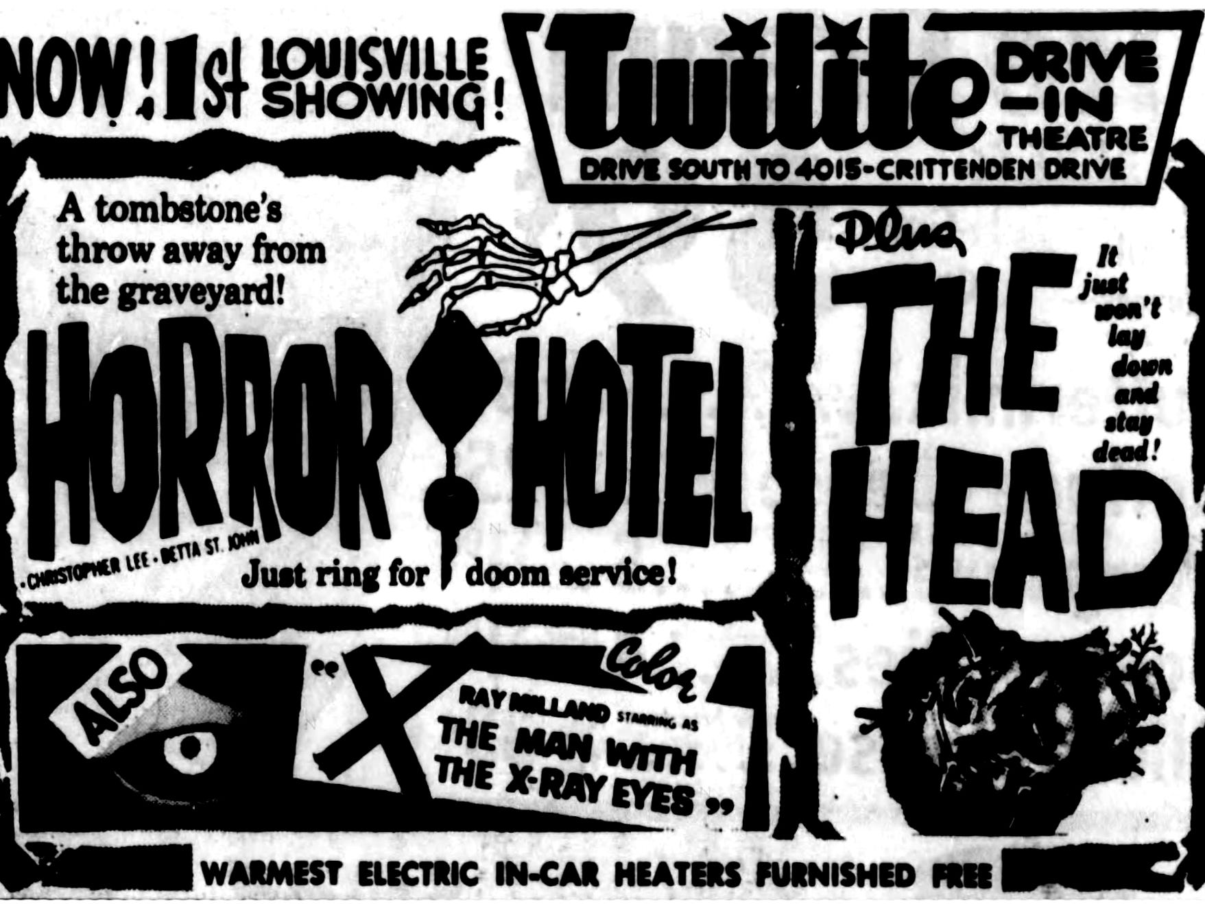 """""""Horror Hotel,"""" """"The Head,"""" and """"The man with the X-Ray Eyes,"""" Saturday, Jan. 16, 1965"""