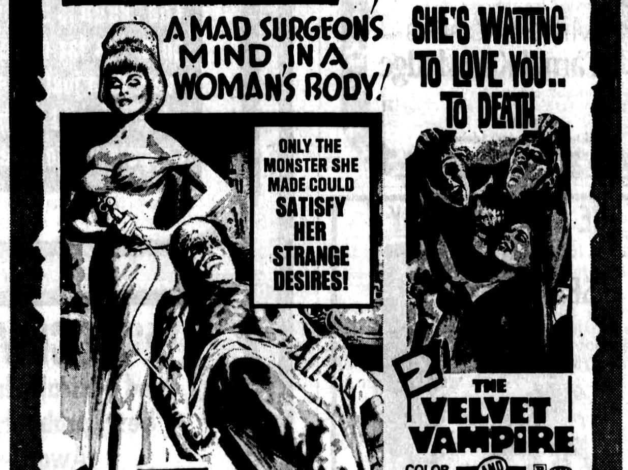 """""""Lady Frankenstein,"""" """"The Velvet Vampire,"""" """"Scream of the Demon Lover,"""" and """"Beast of Blood,"""" Wednesday, Mar. 22, 1972"""