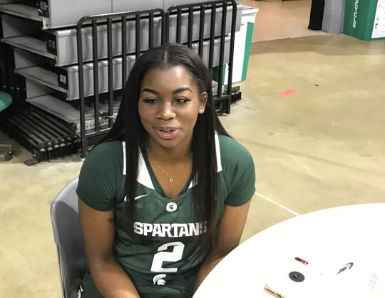 Michigan State women's basketball junior forward Mardrekia Cook answers questions during the team's media day Wednesday, October 24, 2018 at Breslin Center.
