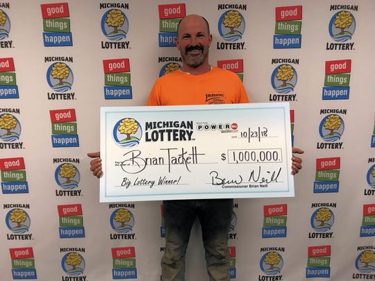 Brian Tackett of Lansing is the lucky winner of a $1 million Powerball prize.