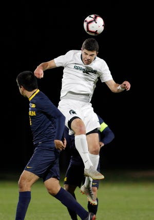 Michael Miller's goal in the 45th minute stood up as the Spartans defeated No. 13 Georgetown, 1-0, in the third round of the NCAA tournament Sunday.