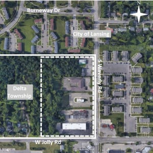 Voters will decide Nov. 6, 2018 whether to have the city of Lansing annex a portion of Delta Township. The proposed area to be annexed is within the dashed lines.