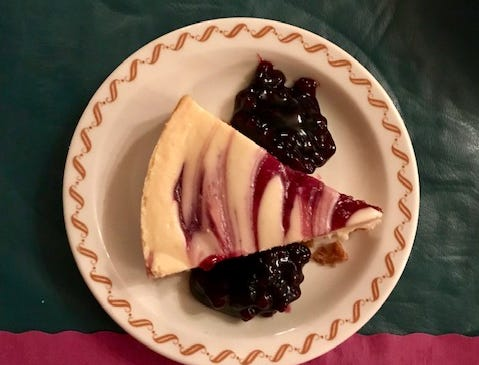 A blueberry lemon cheesecake was the perfect way to finish off the night at Machut's Supper Club in Two Rivers.