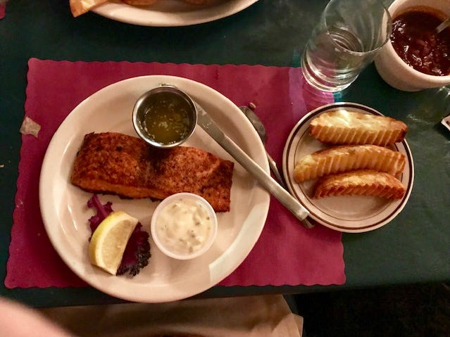 Grilled salmon and a side of broasted potatoes from Machut's Supper Club.
