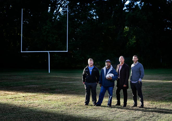 Memphis Inner City Rugby has been working with Advance Memphis, Shelby County Schools and the City of Memphis to revitalize and play rugby at the closed Vance Middle School football field starting this fall. Pictured are, left to right, Memphis Inner City Rugby Executive Director Shane Young; Advance Memphis graduate Donald Jenkins, who maintains the field; Advance Memphis coordinator Jonathan Adam; and Memphis Inner City Rugby board member Michael Deutsch.