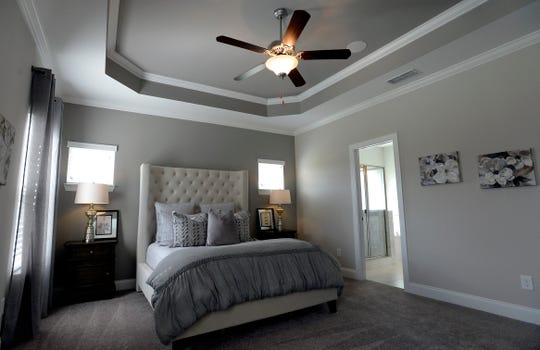 The master bedroom inside a model home at Waltons Grove in Mt. Juliet.