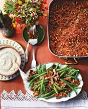 Minnie's Sweet Potato Pone is a recipe author Elizabeth Heiskell grew up enjoying at the holidays.  It's a dish she now makes for her own family at Thanksgiving, often with her Simple Pecan-Green Bean Casserole.