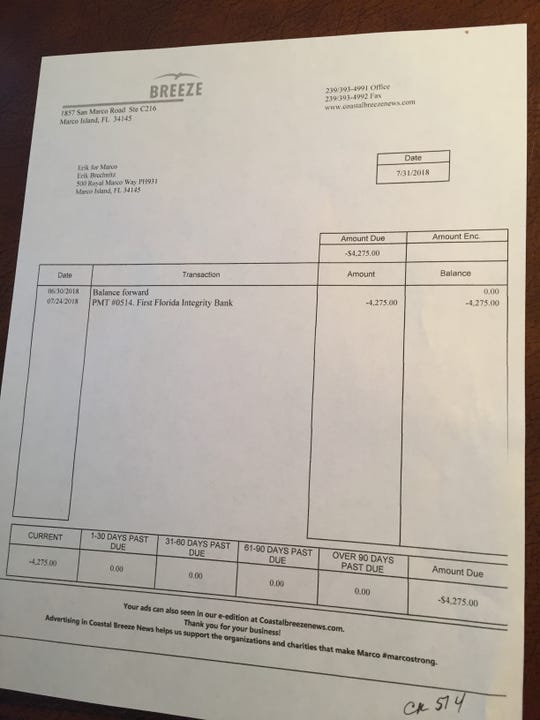 Marco Island City Council candidate Erik Brechnitz was required to pay for his political advertisements before they ran.
