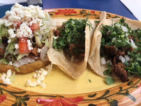 Two pork tacos and one chicken sope from Senor Taco, Bonita Springs.