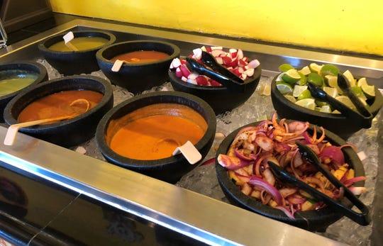 The salsa bar at Senior Taco, Bonita Springs.