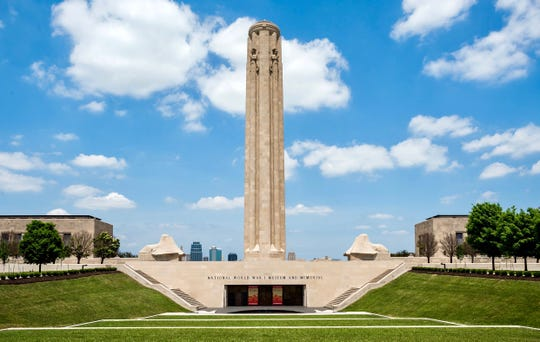 The National WWI Museum and Memorial's 217-foot Liberty Memorial tower and two winged sphinxes are located in downtown Kansas City, Missouri.