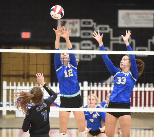 Mountain Home's Reanna Dodge (12) and Anna Grace Foreman (33) attempt to block Tuesday night.