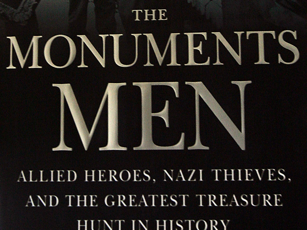 "Rockaway Township, September 2, 2009 -A close up photo of the book cover, ""The Monuments Men"" by Robert M. Edsel. Harry Ettlinger, 83, of Rockaway Township, was an Army private and part of a group called the Monuments Men at the end of Word War II, helping to recover art work stolen by the Nazis.