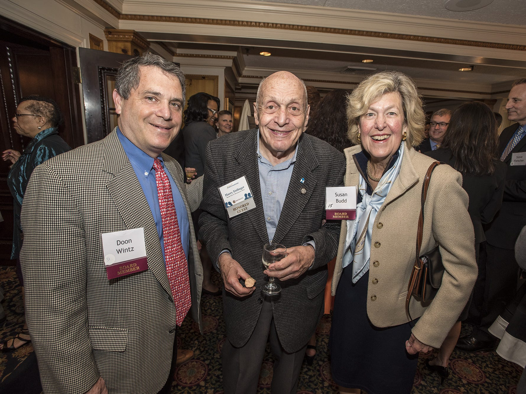 (L-R) Doon WIntz of Mendham Township, Monuments Man Harry Ettlinger of Rockaway Township and Susan Budd of Morris Township at the 7th Annual Morris Arts Great Conversations at the Madison Hotel in Morristown, April 30, 2015.  Photo by Warren Westura for the Daily Record.