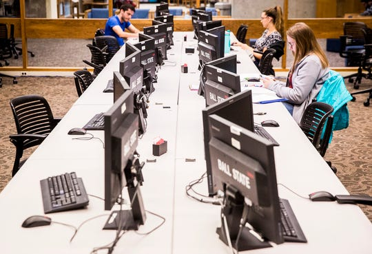 Students spend the afternoon at Bracken Library Wednesday afternoon. Staff at the Ball State library say they are facing a funding crisis.
