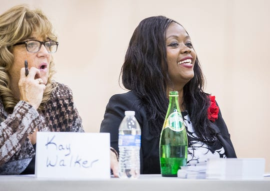 Congressional hopeful Jeannine Lake attends a forum with other candidates at Union Missionary Baptist Church Tuesday, Oct. 23, 2018.