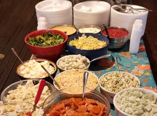 In addition to meats and vegetables, Miller's Grocery offers a variety of salads at the Sunday buffet.