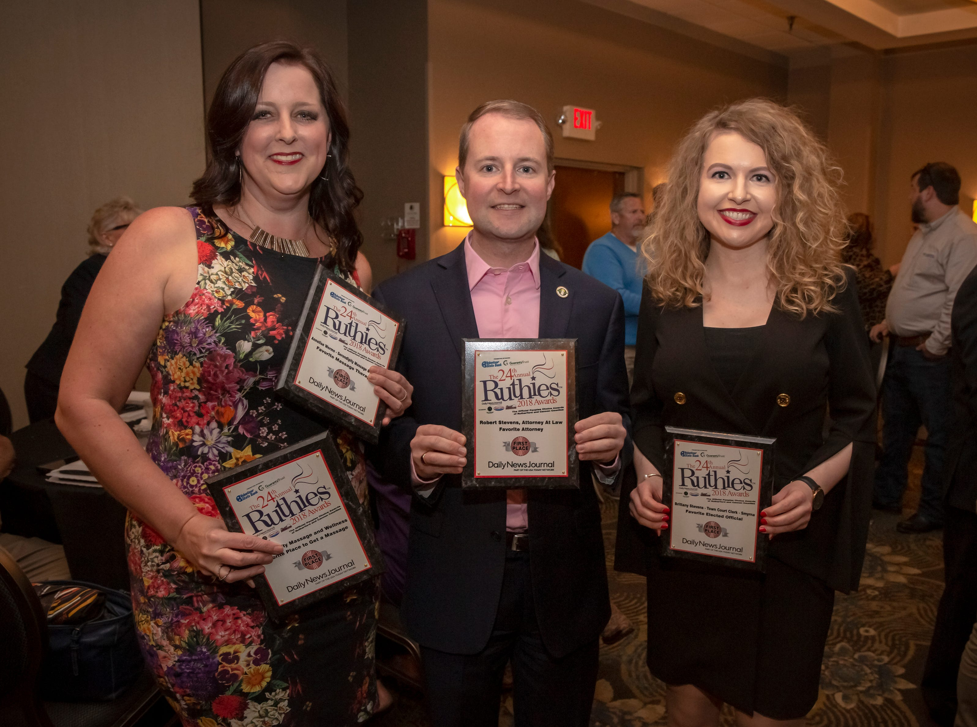 Annelise Werme, Robert Steven and Brittany Steven at the 24th annual Ruthie awards held at DoubleTree on Old Fort Parkway.
